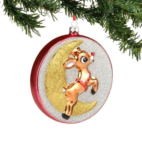 Rudolph and Moon Glass Ornament